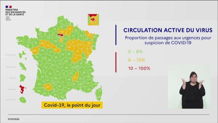 La carte de France de la circulation du virus, le 1er mai 2020. (FRANCEINFO)