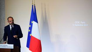 Le Premier ministre, Edouard Philippe, s'adresse au Conseil économique, social, et environnemental, à Paris, le 12 septembre 2019. (MARTIN BUREAU / AFP)
