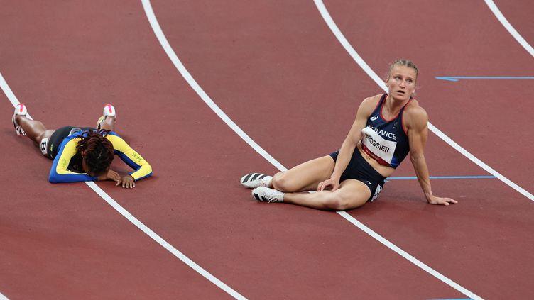 La Française Amandine Brossier, éliminée en demi-finale du 400 mètres des Jeux olympiques de Tokyo, le 4 août 2021. (GIUSEPPE CACACE / AFP)