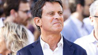 Manuel Valls lors d'une manifestation contre l'indépendance de la Catalogne, le 27 octobre 2019 à Barcelone (Espagne). (XAVIER BONILLA / AFP)