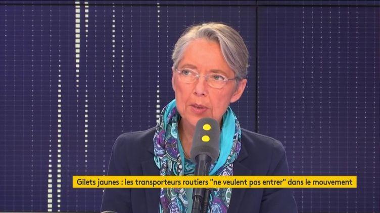 Élisabeth Borne, invitée de franceinfo lundi 19 novembre. (FRANCEINFO / RADIOFRANCE)