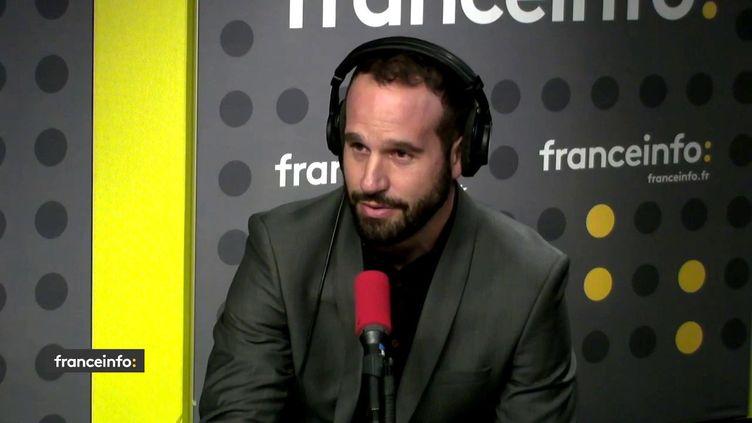 """Frédéric Michalak, ancien international, ambassadeur de """"France-2023"""" était invité sur franceinfo; (FRANCEINFO / RADIOFRANCE)"""