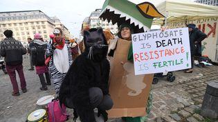 Des militants écologistes manifestent contre le glyphosate, le 9 novembre 2017 à Bruxelles (Belgique). (EMMANUEL DUNAND / AFP)