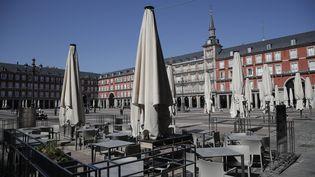 Une vue de la Plaza Mayor de Madrid, samedi 14 mars à Madrid (Espagne). (BURAK AKBULUT / ANADOLU AGENCY / AFP)