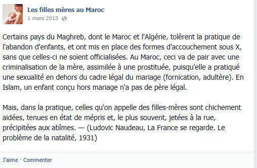 Une page facebook de la communauté les filles-mères au Maroc (Communauté Filles-mères au Maroc . Facebook)