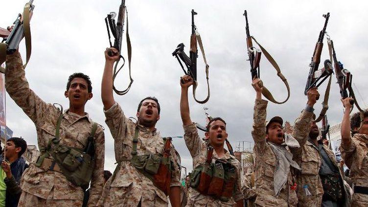 Combattants huthis au Yémen (25 mars 2015) (MOHAMMED HUWAIS / AFP)