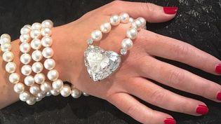 """Le Diamant """"La Légende"""", plus gros diamant """"parfait"""" taillé en forme de coeur  (Handout / CHRISTIE'S AUCTION HOUSE / AFP)"""