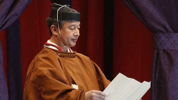L'empereur japonais Naruhito lors de la cérémonie d'intronisation, à Tokyo, la capitale japonaise, le 22 octobre 2019. (JIJI PRESS  / AFP)