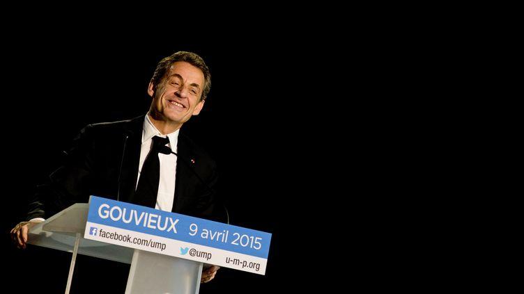 Nicolas Sarkozy donne un discours à Gouvieux (Oise), le 9 avril 2015. (KENZO TRIBOUILLARD / AFP)