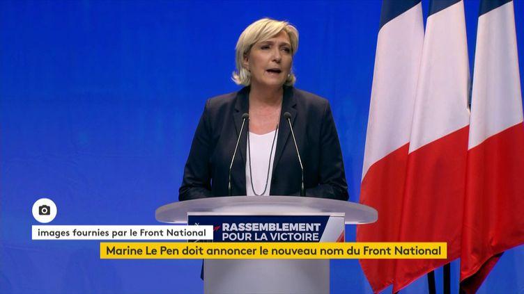 La présidente du FN, Marine Le Pen, délivre un discours lors du congrès de son parti, le 11 mars 2018. (Front national)