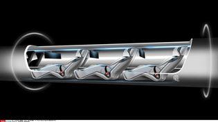 Un croquis de l'Hyperloop, moyen de transport quasi-supersonique, est présenté le 12 août 2013 par le constructeur Tesla Motors. (TESLA MOTORS / EYEPRE / NEWSCOM / SIPA)