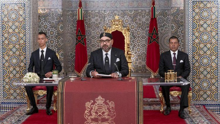 Le roi du Maroc, Mohammed VI, lors d'un discours à l'occasion des 20 ans de son accession au pouvoir, le 29 juillet 2019 à Tétouan (Maroc). (AFP)