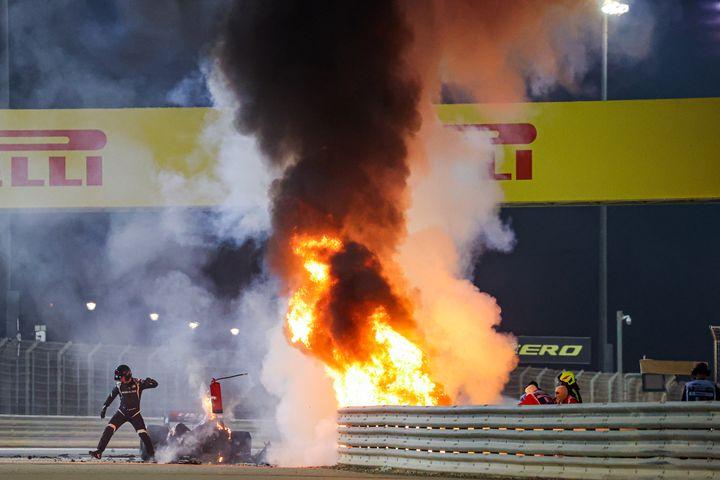 Le feu impressionnant après le crash de la Haas de Romain Grosjean à Sakhir (Bahreïn) (DPPI / DPPI)