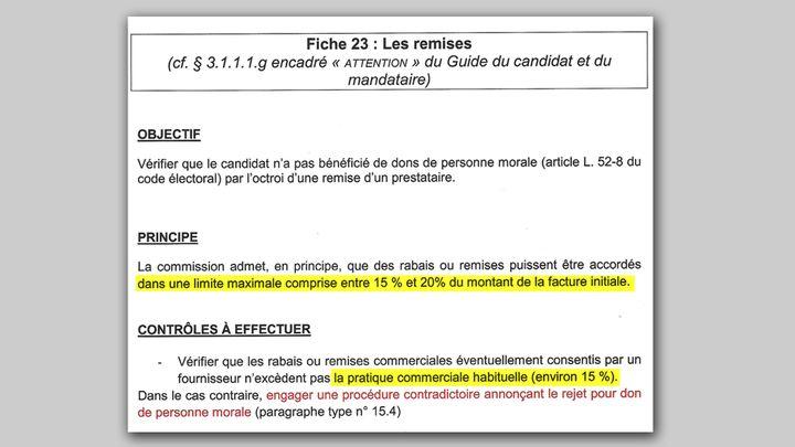 Extrait du document remis à tous les rapporteurs chargés de contrôler les comptes de campagne (CAPTURE D'ÉCRAN)