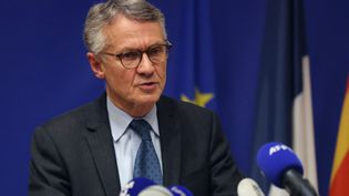 Jean-François Ricard, procureur du parquet national antiterroriste, lors d'une conférence de presse, à Nice (Alpes-Maritimes), le 29 octobre 2020. (VALERY HACHE / AFP)