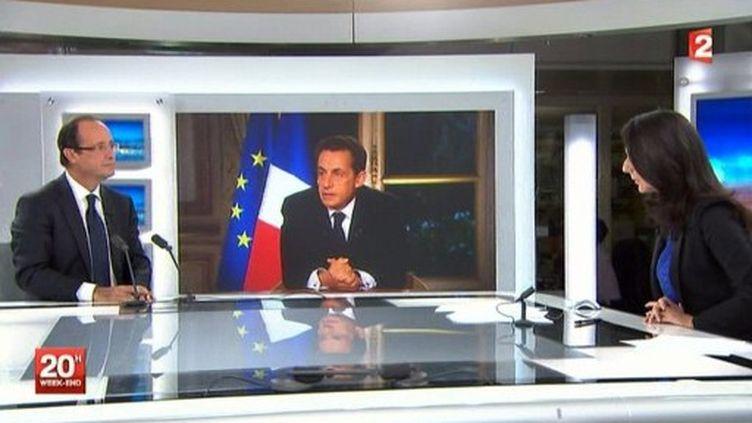 François Hollande sur le plateau de France 2, et une image de Nicolas Sarkozy (AFP)