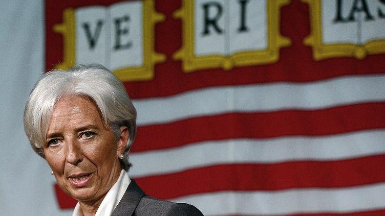 Christine Lagarde, directrice du FMI, à Cambridge, dans le Massachusetts (Etats-Unis), le 23 mai 2012. (EMMANUEL DUNAND / AFP)