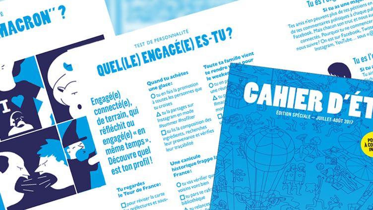 """Plusieurspagesdu """"Cahier d'été"""" lancé par La République en marche. (FRANCEINFO / RADIOFRANCE)"""