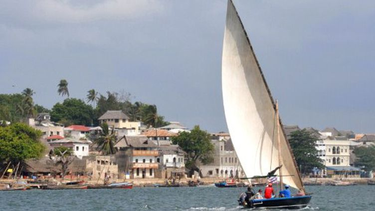 Les vieilles maisons et les bateaux de pêche sur le front de mer de Lamu au Kenya, en avril 2011. (ANTOINE LORGNIER / ONLY WORLD / AFP)