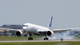 Un avion se pose sur la piste de Toulouse-Blagnac. (ERIC CABANIS / AFP)