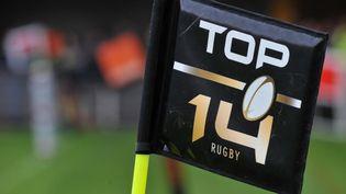 Le logo du Top 14 est affiché lors d'un match de rugby ) Clermont-Ferrand (Puy-de-Dôme), le 3 mai 2014. (THIERRY ZOCCOLAN / AFP)