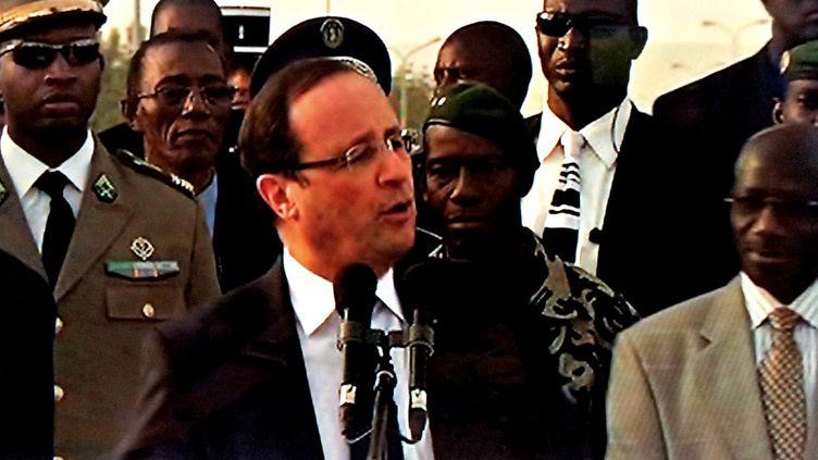 François Hollande à Bamako (Mali), le 2 février 2013. (FRANCETV INFO)