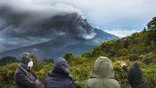 Le volan Turrialba, pendant son éruption, le 20 mai 2016, au Costa Rica. (EZEQUIEL BECERRA / AFP)