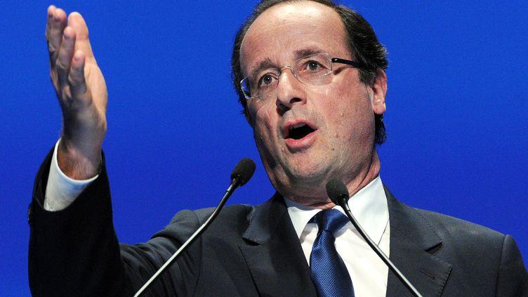 François Hollande lors du congrès annuel de la Fédération nationale des syndicats d'exploitants agricoles, à Montpellier (Hérault),le 29 mars 2012. (PASCAL GUYOT / AFP)