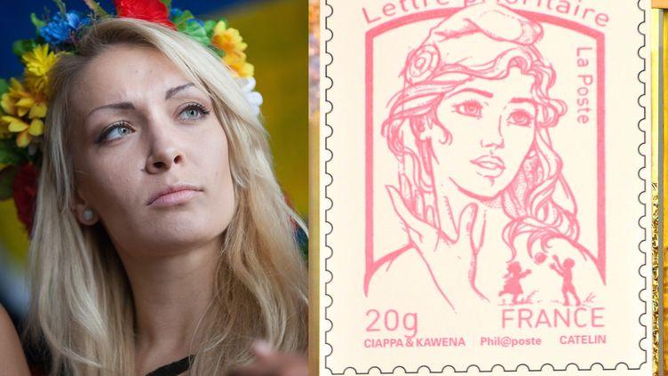 Montage photo présentant la leader des Femen, Inna Shevchenko, et le nouveau timbre inspiré de son visage, dévoilé le 14 juillet 2013. ( MAXPPP)