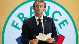 Emmanuel Macron prononce un discours pendant une conférence organisée par la Banque d'investissement française à Paris, le 07 octobre 2021. (BENOIT TESSIER / POOL / MAXPPP)