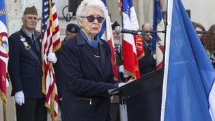 Francine Christophe lors de l'inauguration d'une plaque commémorative en l'honneur des Juifs d'Angoulême déportés lors de la Seconde Guerre mondiale, le 14 mars 2017. (YOHAN BONNET / AFP)