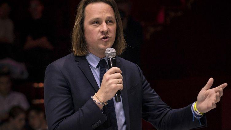 """Le directeur de la rédaction de """"Valeurs actuelles"""",Geoffroy Lejeune, le 25 avril 2019. (LIONEL BONAVENTURE / AFP)"""