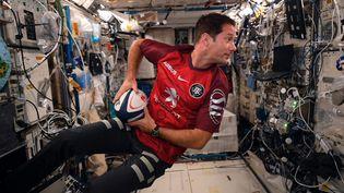 22 mai 2021. L'astronaute Thomas Pesquet,premier supporter depuis l'Espace dans l'ISS, du Stade Toulousain, qui s'impose en finale de la Coupe d'Europe de Rugby, face à La Rochelle, à Twickenham. (DOC THOMAS PESQUET / TWITTER / MAXPPP)