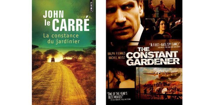 """La couverture du roman de John Le Carré """"La constance du jardinier"""" et l'affiche du film adapté de ce livre, """"The Constant gardener"""" avec Ralph Fiennes. (JOHN LE CARRE)"""