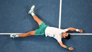 Novak Djokovic a remporté son neuvième titre à Melbourne, dimanche 21 février. (MORGAN HANCOCK / TENNIS AUSTRALIA)