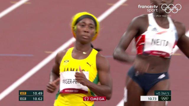 Grande favorite du sprint, Shelly-Ann Fraser-Pryce s'est imposée tranquillement et file en finale, accompagnée de la Suissesse Mujinga Kambundji.