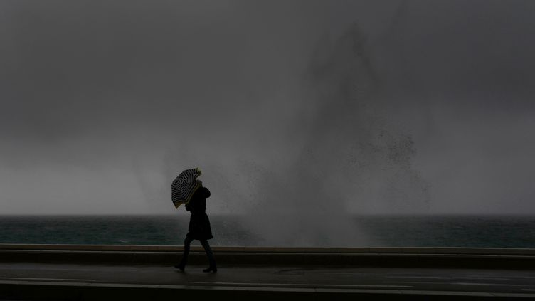 Une femme sur la promenade des Anglais à Nice, le 1er février 2019. (VALERY HACHE / AFP)