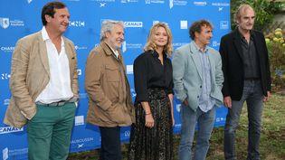 Présentation du film d'Albert Dupontel au festival du film francophone d'Angoulême, le 30 août 2020 avec Philippe Uchan, Nicolas Marié, Virginie Efira, Albert Dupontel et Michel Vuillermoz (MAXPPP)