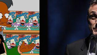 Le personnage d'Apu dna sla série les Simpson, et l'acteur américainHank Azaria, qui lui prête sa voix (Fox / VIVIEN KILLILEA / GETTY IMAGES NORTH AMERICA / AFP)