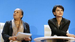 Les ministres de la Justie Christiane Taubira et de l'Education nationale Najat Vallaud-Belkacem, le 17 avril 2015. (PATRICK KOVARIK / AFP)