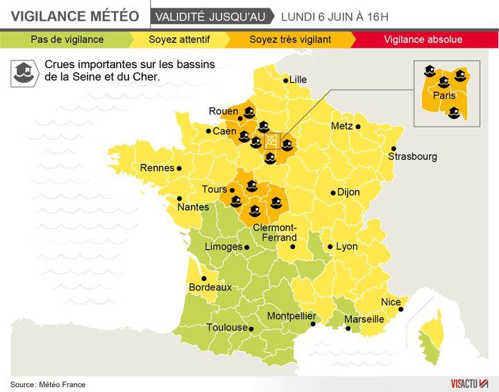 (Carte Météo France des zones placées sous surveillance © Visactu)
