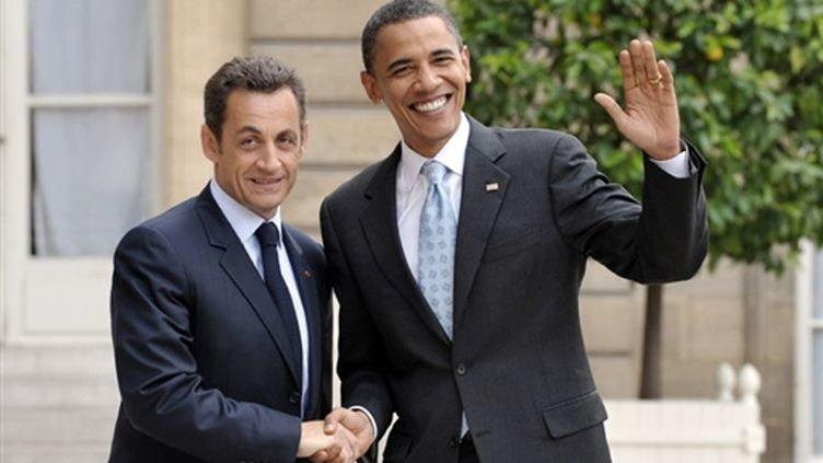 Nicolas Sarkozy accueille Barack Obama à l'Elysée (Archives/25/07/2008) (© AFP/Eric Feferberg)
