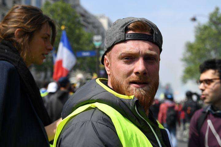 """Maxime Nicolle, alias """"Fly Rider"""", le 1er mai 2019 à Paris, lors d'une journée de mobilisation des """"gilets jaunes"""". (ALAIN JOCARD / AFP)"""