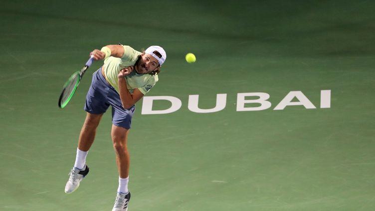 Lucas Pouille à Dubaï (KARIM SAHIB / AFP)