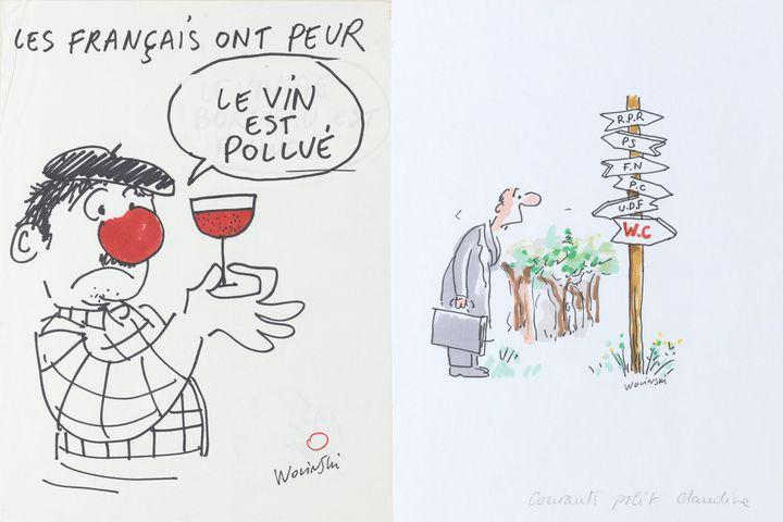"""""""Les Français ont peur"""" et """"Les directions"""", dessins originaux de Wolinski, années 1980.  (Wolinski)"""