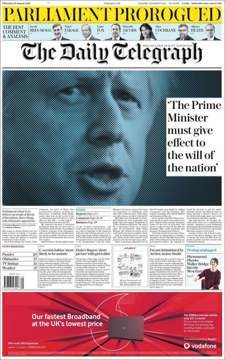 La une du Daily Telegraph, le 29 août 2019. (THE DAILY TELEGRAPH)