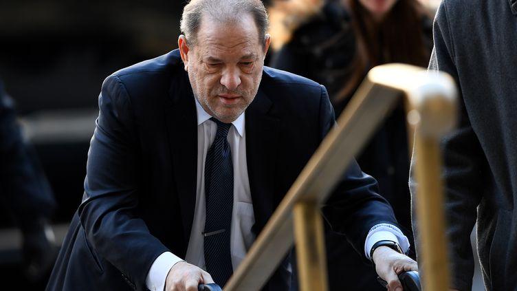 L'ancien producteur Harvey Weinstein, le 21 février lors de son procès à New York (Etats-Unis). (JOHANNES EISELE / AFP)