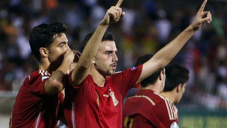 L'Espagnol Borja Mayoral fête la victoire de sa sélection (STRINGER / AFP)