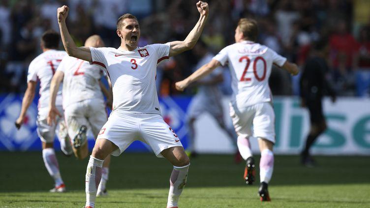 Le défenseur polonais Artur Jedrzejczyk, célébrant la victoire de son équipe en huitième de finale de l'Euro contre la Suisse, le 25 juin 2016 à Saint-Etienne (Loire). (MARTIN BUREAU / AFP)