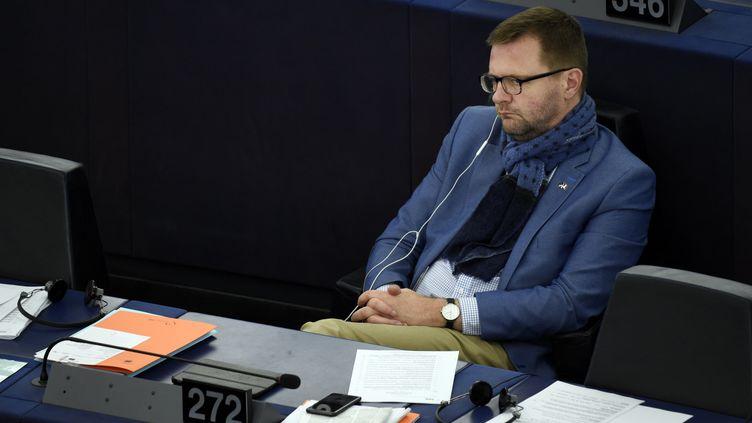 Le député européen Jérôme Lavrilleux le 17 avril 2019 au Parlement européen de Strasbourg. (MAXPPP)